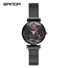 SANDA Night Flash Starry Sky Watch Women Fashion Cutting Purple Ladies Watches Milan Mesh Belt Quartz Wristwatch montres femme From Touchy Style Outfit Accessories.| Variant: Gold.