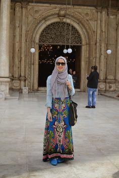 hijabi fashion, hani hulu, maxi skirt, denim shirt, austere attire hijab
