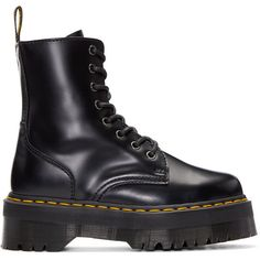 Dr. Martens Black Jadon Boots (€160) ❤ liked on Polyvore featuring shoes, boots, rubber sole shoes, black zipper boots, ankle length boots, black round toe boots and round cap