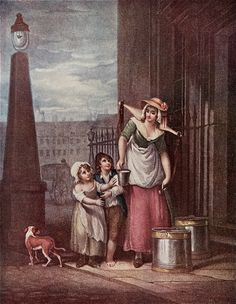 """Milk Below! - This is believed to be the origin of the more recent milkman's cry,  """"Milko!"""" Francis Wheatley (1747-1801) Cries of London series"""