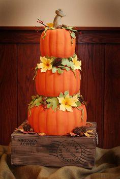 Fall pumpkin wedding cake - omg this cake is the best fall cake I have seen so far. Pumpkin Wedding Cakes, Themed Wedding Cakes, Fall Wedding Cakes, Themed Cakes, Wedding Ideas, Pumpkin Cakes, Camo Wedding, Orange Wedding, Autumn Wedding