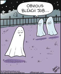 Little ghostly hairhumor for your sundaymorning. Halloween Cartoons, Halloween Quotes, Halloween Fun, Halloween Humor, Halloween Witches, Funny Cartoons, Funny Comics, Funny Memes, Jokes