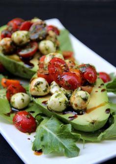 Caprese stuffed avocado salad