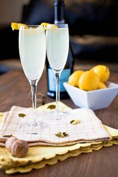 prosecco, st. germain, gin + lemon.