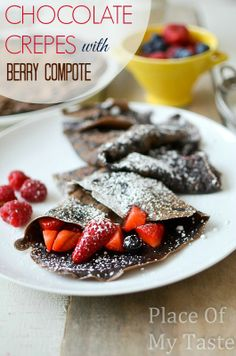 Make these chocolate crepes for dessert or breakfast and serve them with fresh berry compote. Your kids will love them for sure!