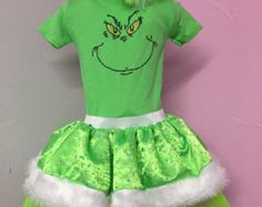 Baby Girl Toddler Princess The Grinch Christmas Tutu Costume Sparkle Holiday Fancy Dress