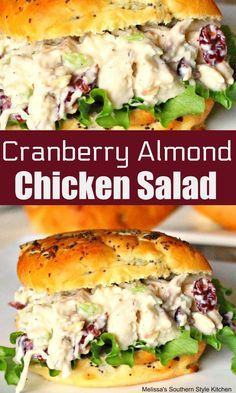 Cranberry Almond Chicken Salad - # Salad, which happens in different ways with the cooking Cranberry Almond Chicken Salad, Cranberry Salad, Chicken Salad With Cranberries, Chicken Salad Recipe With Almonds, Cranberry Recipes, Ensalada Thai, Chicken Salad Recipes, Salad Chicken, Greens Recipe