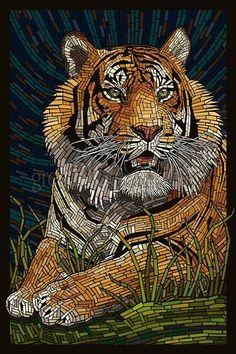 Tiger , paper mosaic