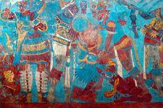 """Mural La Batalla, considerado uno de los """"logros estéticos más impresionantes del mundo mesoamericano"""", localizado en la antigua ciudad prehispánica de Cacaxtla, en Tlaxcala. En la elaboración de este mural, fechado entre el 650 y 700 d.C., y que representa —según investigaciones recientes de la historiadora María Teresa Uriarte— el sacrificio del Dios del Maíz,"""