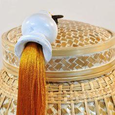 Korb Behälter Bast Bambus Hochzeitskorb Schmuckkorb Thailand weiß groß