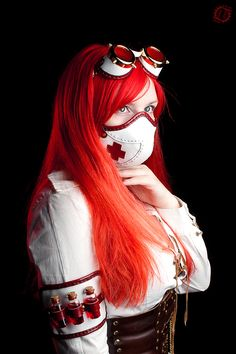 Steampunk Nurse II by LahmatTea.deviantart.com on @deviantART I really love the mask's design