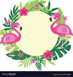 Illustration about Tropical frame with flamingo - vector illustration, epsn. Illustration of hibiscus, flora, beautiful - 95000623 Flamingo Party, Flamingo Birthday, Tropical Frames, Flamingo Vector, Flamingo Wallpaper, Fleurs Diy, Tropical Party, Floral Border, Flower Frame