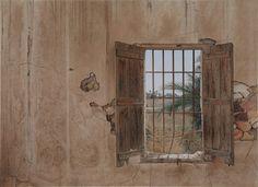Autor: Jesús Lozano Saorin   Titulo/title: Interior al aire libre    Tamaño/size: 101 X 140 cm. Técnica/technics: Acuarela / Watercolor