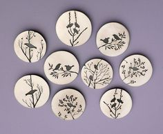 Bird Brooches by Jane Dodd, to make, DIY, craft, brooch, accessories, illustration, tree, nature