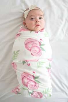 Receiving Blanket Vs Swaddling Blanket Pretty Peony Personalized Floral Baby Swaddle Floral Baby Blanket