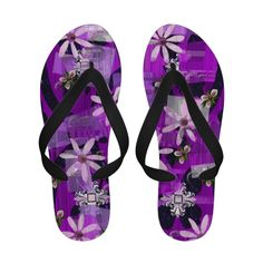 purple flip flops | Purple Flower Pattern Flip Flop Summer Thongs Flip Flops