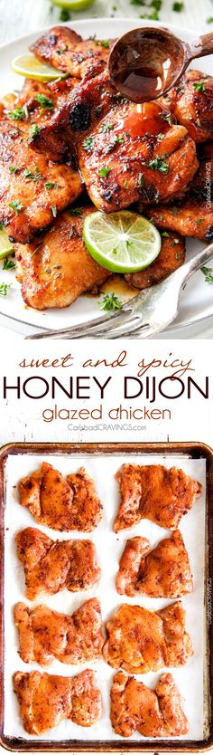 Sweet, Spicy and Tangy Honey Dijon Glazed Chicken is quick and easy and packed with flavor! The chicken thighs are rubbed in spices, cooked under the broiler for 10 minutes and glazed with the most incredible sauce! Turkey Recipes, Meat Recipes, Chicken Recipes, Dinner Recipes, Cooking Recipes, Healthy Recipes, Recipes For Chicken Thighs, Chicken Thighs In Oven, Recipies