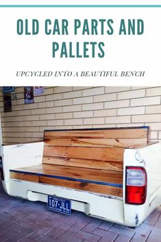 This bench was made by Aaron Borg using old car parts (that previously already used as a couch), recycled pallet wood and Pallet Patio, Pallet Home Decor, Pallet Dining Table, Diy Outdoor Table, Diy Pallet Sofa, Pallet Crafts, Diy Pallet Projects, Pallet Furniture, Furniture Projects