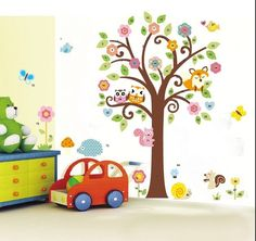 Full Tree of Flowers and Forest Friends Wall Decal