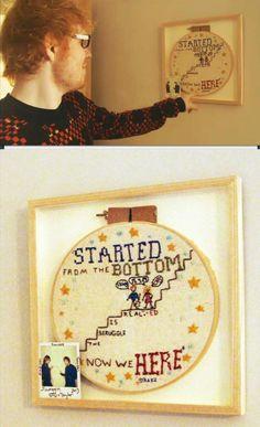 Taylor Swift made Ed Sheeran a needlepoint. Love them