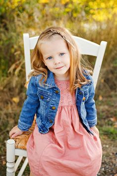 Fall Family Photo Session - Autumn - Billings - Norm's Island - Trees - Grass - Chair - Sitting - Daughter - Girl - Kid - Jean Jacket - Pink Dress - Montana Family Photographer - Sara Nagel Photography Fall Family Photos, Seasons Of The Year, Family Photo Sessions, Family Photographer, Pink Dress, Montana, Grass, Daughter, Poses