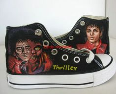thriller Michael Jackson shoes Hand-painted converse all star Shoes sneaker in memory of king of pop. $89.99, via Etsy.