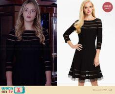 Ali's black mesh striped dress on Pretty Little Liars.  Outfit Details: http://wornontv.net/34012/ #PLL