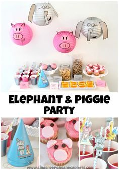 Celebrating 10 years of fun with Elephant & Piggie with this super cute Elephant & Piggie Party! #MoFun #spon Piggie And Elephant, Elephant Party, Elephant Birthday, Baby Hippo, Birthday Treats, 4th Birthday Parties, Girl Birthday, Food Themes, Food Decorations