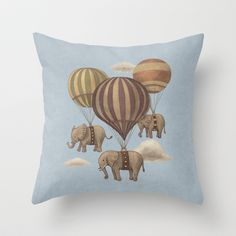 High-flying Elephants   Throw Pillow by Terry Fan - $20.00