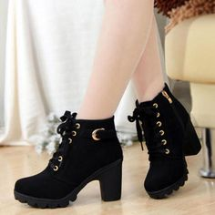 Womens High Heels Martin Ankle Boots Zipper Lace Up Buckle Platform Comfy  Shoes  1427d4817ccd
