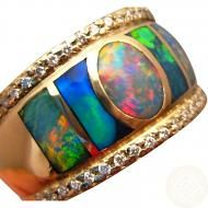 Mans 14k Gold Very Wide Band Opal and Diamond Ring #opalsaustralia