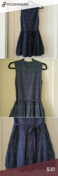 Zara Lace Dress with Ribbon Belt Fully lined lace dress with full-skirt bottom. Excellent condition! Zara Dresses Midi