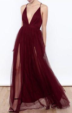 burgundy long prom dress, 2018 long prom dress with slit