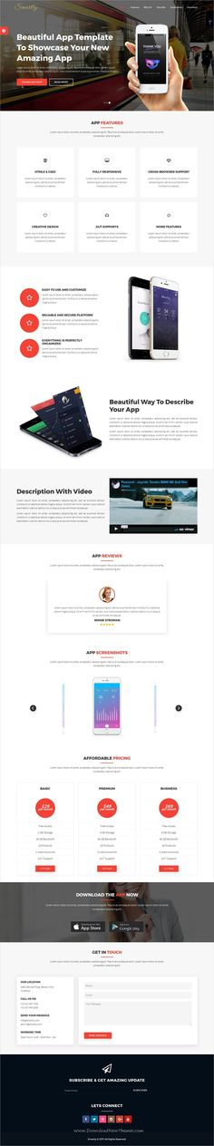 Smartly is a clean and professional design 3in1 responsive #HTML bootstrap template for #app landing page websites download now➩ https://themeforest.net/item/smartly-app-landing-page/19570519?ref=Datasata