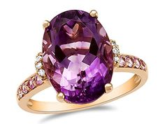 LALI Classics 14kt Rose Gold Amethyst and Pink Sapphire Oval Ring