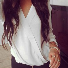 2016 Spring Blusas Femininas Sexy Women Blouses Casual Loose Tops Chiffon Blouse Long Sleeve Deep V Neck Solid Shirts Plus Size