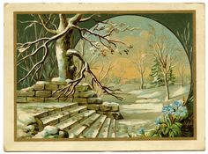 Vintage Winter Clip Art | Vintage Graphic - Winter Landscape - The Graphics Fairy
