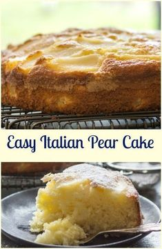 Easy Italian Pear Cake, a delicious moist Italian cake made with fresh pears and mascarpone. A perfect breakfast, snack or anytime cake recipe. Torta alle pere e mascarpone ( mele ) Italian Cake, Italian Desserts, Köstliche Desserts, Italian Recipes, Delicious Desserts, Italian Cookies, Plated Desserts, Italian Foods, Fruit Recipes