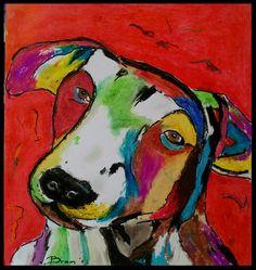 Vrolijke Hond - olie pastel op papier
