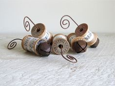 Vintage Spool Ornaments With Rusty Bells - Set of 5. $18.00, via Etsy.