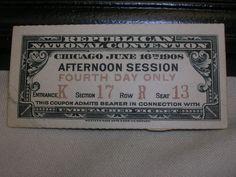 Vintage 1908 Republican National Convention Ticket Stub