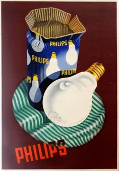 Philips Light Bulbs, 1930s - original vintage poster listed on AntikBar.co.uk