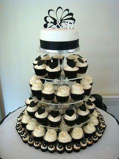 Cupcake Wedding Cake Tower White Cupcakes Black And