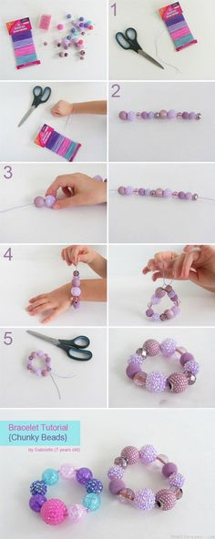 Armband Tutorial - Chunky Beads {Gabrielle} - Der D. Baby Jewelry, Girls Jewelry, Beaded Jewelry, Beaded Bracelets, Jewellery Diy, Jewelry Making, Armband Tutorial, Bracelet Tutorial, Kids Bracelets