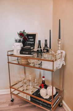 How to design the perfect Halloween bar cart with a few simple tips | Halloween bar cart decor, Halloween bar cart ideas #barcart #halloweendecor Pick Your Poison, Bar Cart Decor, Halloween Decorations, Cool Style, Cocktails, Simple, Tips, Ideas, Design