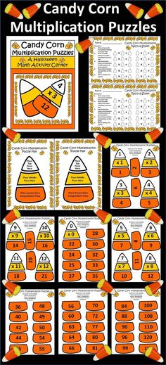 Candy Corn Multiplication Puzzles: This colorful Halloween packet utilizes the favorite Halloween candy to reinforce basic multiplication facts from 0 to 12. Packet includes both color and b/w versions of all pages.  Contents include: * Halloween Candy Co