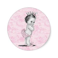 Vintage Pink Toile Baby Shower Stickers