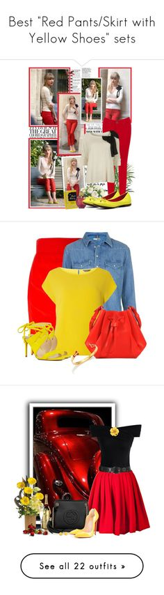 """""""Best """"Red Pants/Skirt with Yellow Shoes"""" sets"""" by spells-and-skulls ❤ liked on Polyvore featuring Gwyneth Shoes, BeginAgain Toys, Oasis, NDI, Kate Spade, VILA, GC Shoes, taylorswift, BeginAgain and Versace"""