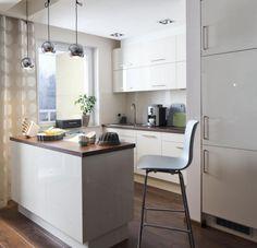 einrichtungstipps kleine küche ideen L-form küchenzeile esstheke ...
