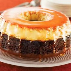 Flan Cake (Flan Impossible) | This Flan Cake is a unique alternative for family and friends entertaining. You'll love the layered look and flavors of this inverted cake.